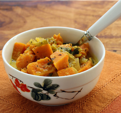 Slow Cooker Sweet Potato Curry from The Perfect Pantry featured on SlowCookerFromScratch.com