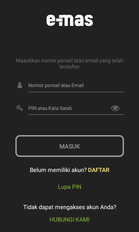 """Jika Anda sudah masuk kedalam aplikasinya, Silahkan pilih """"Mulai Sekarang"""" dan Login menggunakan Email/Nomor Handphone dan Password/PIN."""