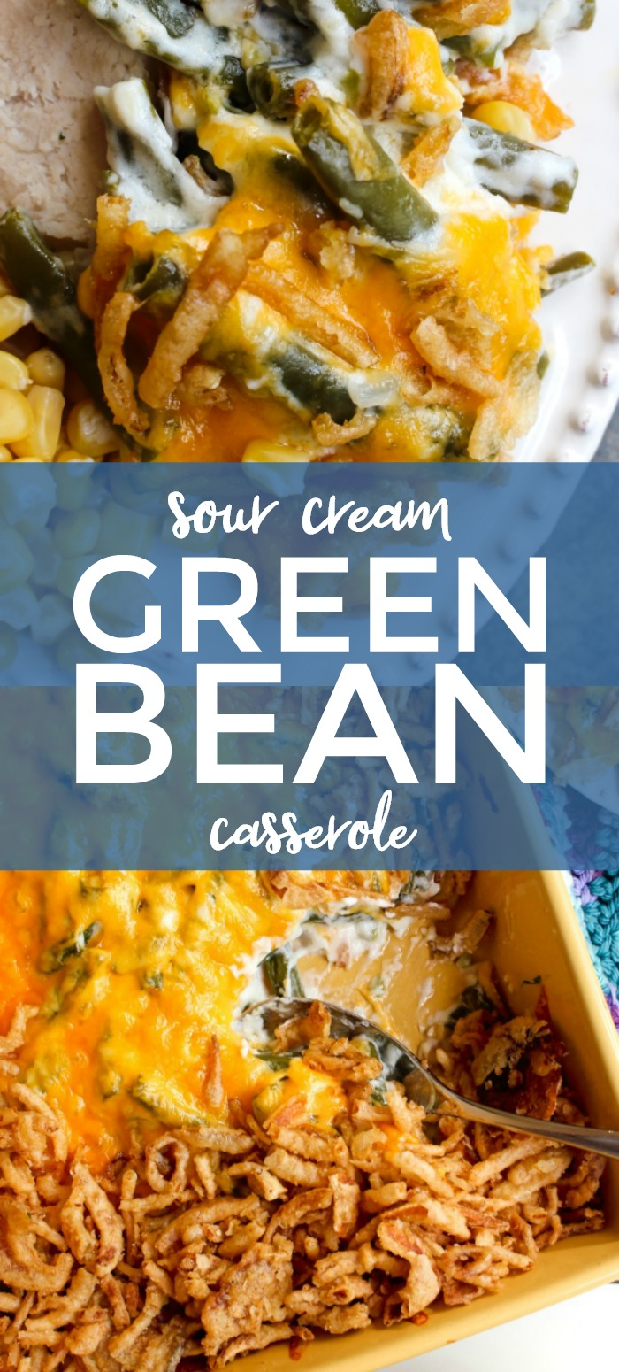 Sour Cream Green Bean Casserole is a no mushroom, no canned soup version of the classic side dish that is made with fresh green beans, creamy sour cream, sharp cheddar cheese, and french fried onions.  This recipe feeds a crowd!  #greenbeans #sidedish #greenbeancasserole