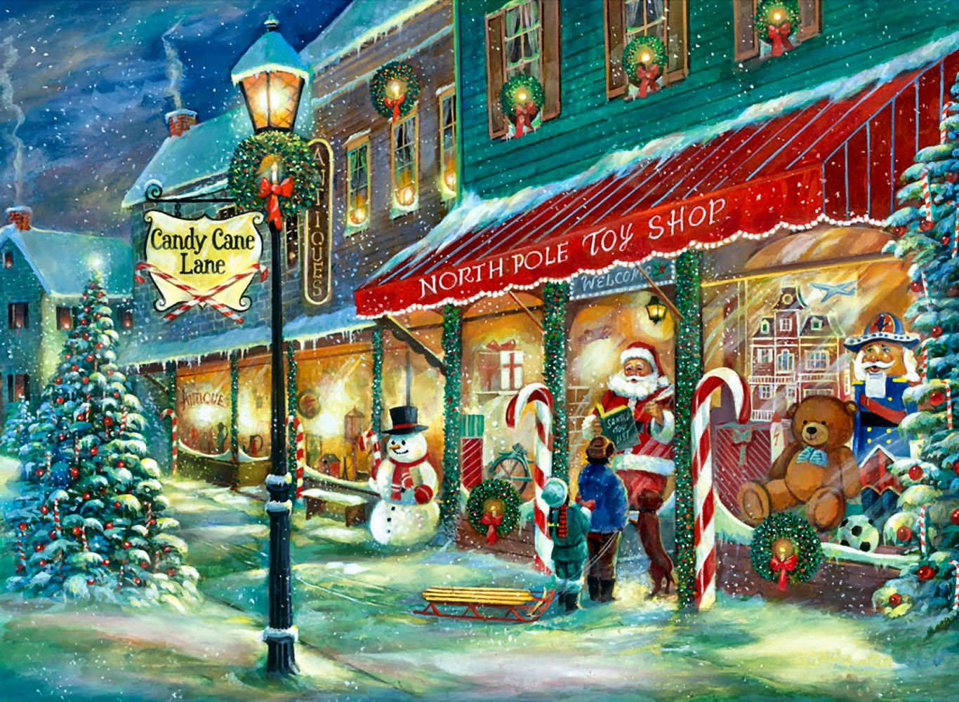 Christmas Toy Store : Classic vintage style christmas celebration paintings for