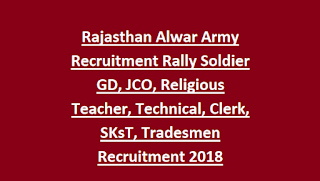 Rajasthan Alwar Army Recruitment Rally Soldier GD, JCO, Religious Teacher, Technical, Clerk, SKsT, Tradesmen Recruitment 2018