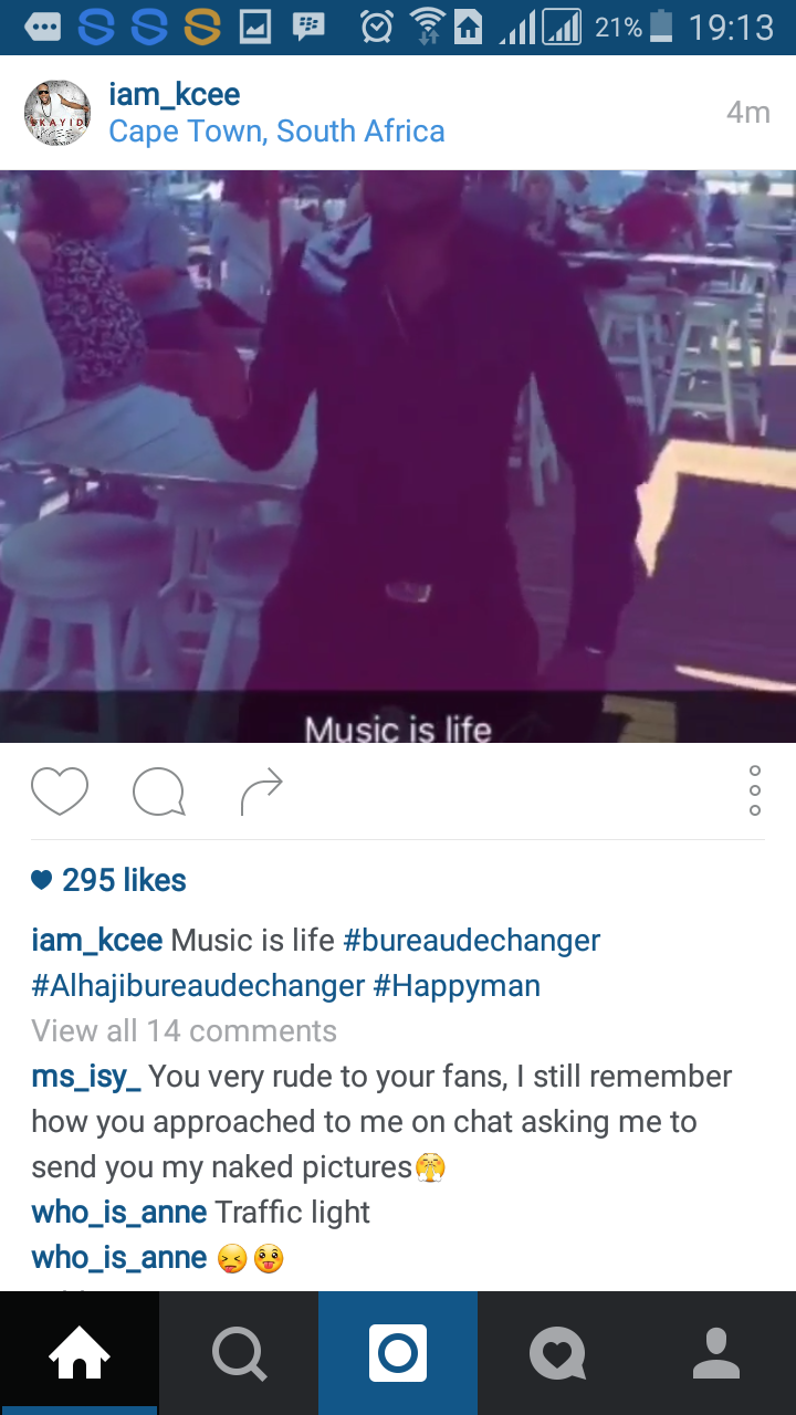 Instagram follower accuses Kcee Limpopo crooner on Instagram