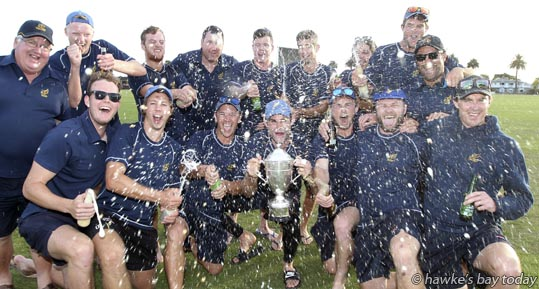 The winning Bay of Plenty cricket team - Hawke Cup cricket vs Hawke's Bay at Nelson Park, Napier. photograph