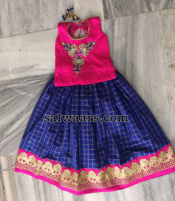 Blue Check Lehenga Pink Blouse