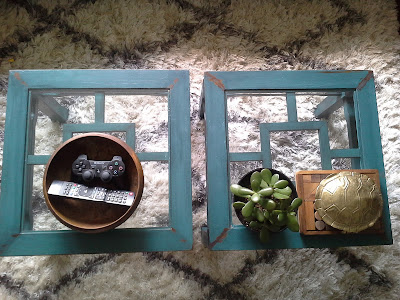 Asian influence distressed blue coffee table