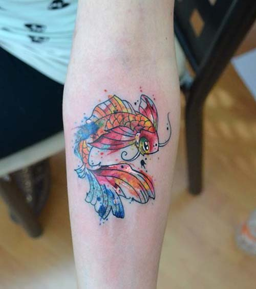 small watercolor koi fish tattoos koi balığı dövmelerirenkli