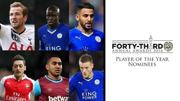 A PFA divulgou nesta Quarta-feira a lista com os indicados ao prêmio de melhor jogador da temporada 2015-2016 da Premier League. E três dos indicados atuam pelo Leicester, o líder da competição.
