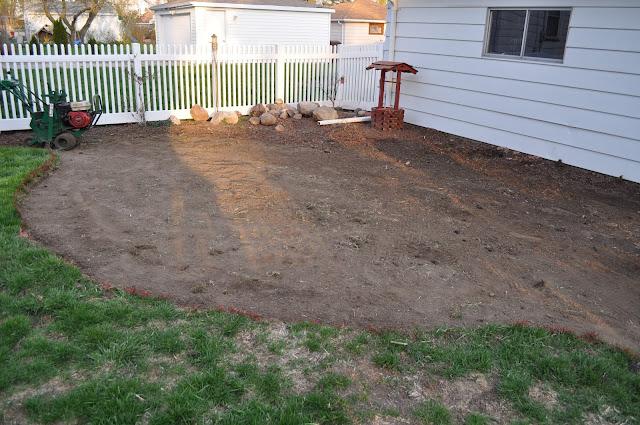 mulch, sod cutter, patio, pavers, DIY, landscaping, reno, pea gravel, dark brown shredded mulch, sand