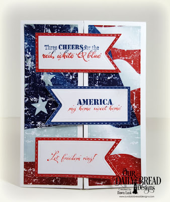 Our Daily Bread Designs Stamp Set: Let Freedom Ring, Paper Collection: Stars and Strips, Custom Dies: Tri-Shutter Layers, Double Stitched Pennant Flags, Pennant Flags