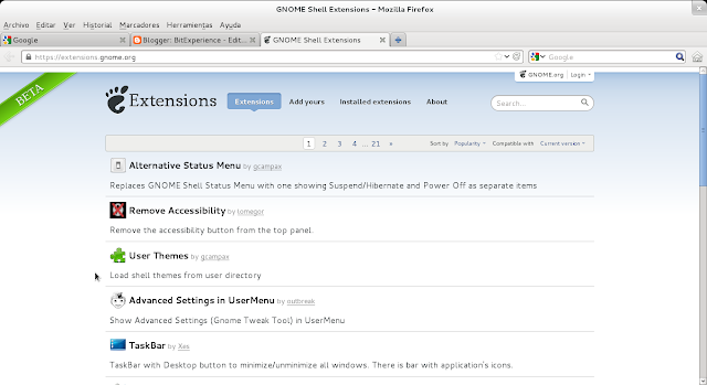 gnome extensions homepage