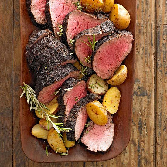 Christmas dinner idea - Coffee-Crusted Beef Tenderloi with recipe link