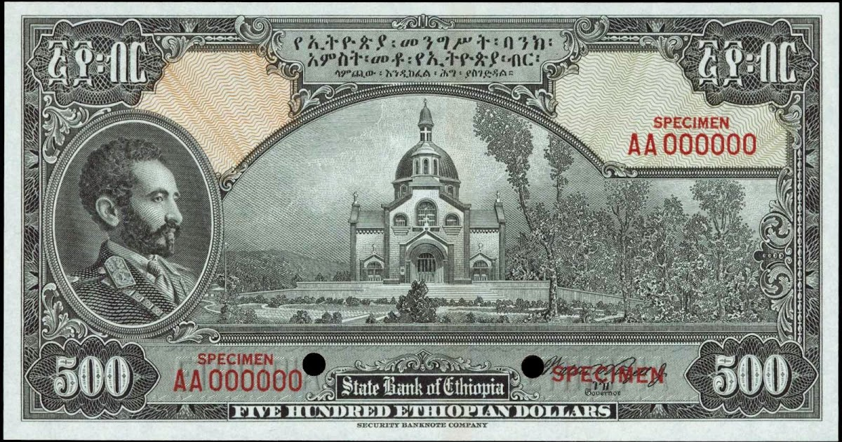 Ethiopia 500 Dollars Banknote 1945 Emperor Haile Selassie World Banknotes Amp Coins Pictures Old