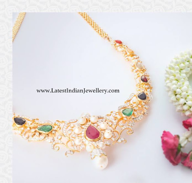 Diamond Necklace with Navaratnas
