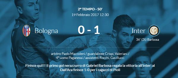 Bologna-Inter 0-1 (Gol di Barbosa)