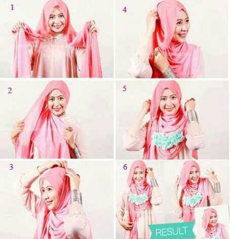 cara mengenakan jilbab pashmina segiempat