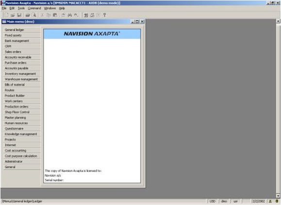Simulasi Penggunaan Software AXAPTA