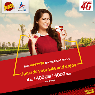 Jazz 4G Sim Offer Giving MBs, SMS and Minutes