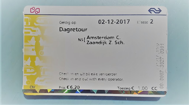 TrainTicket from Amsterdam to Zaandam Train Station