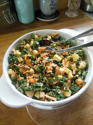 Kale Apple and Carrot Slaw, cook with what you have. Frugal ways in the kitchen.