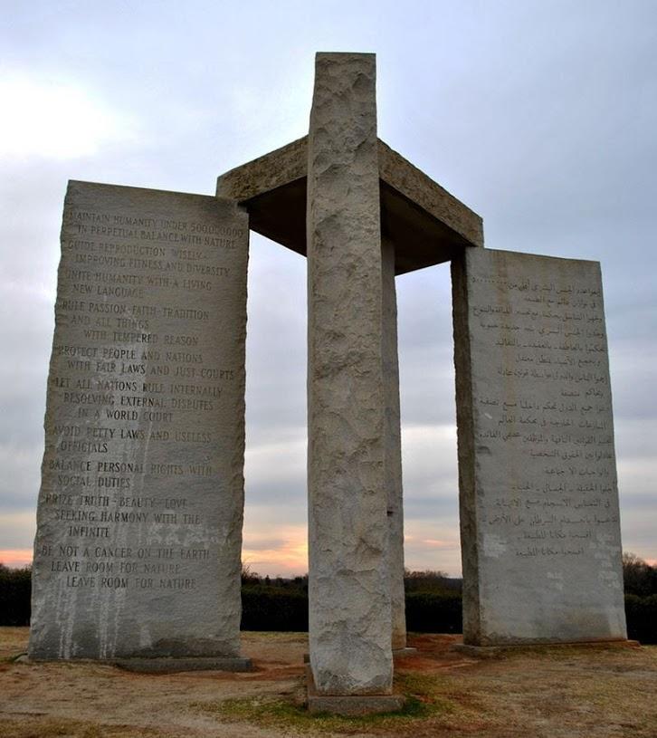 Pedras Guias da Giorgia: Os Mandamentos Illuminati da Nova Ordem Mundial