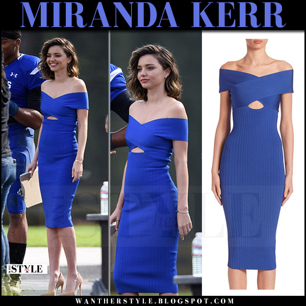 Miranda Kerr in electric blue off shoulder pencil dress cushnie et ochs what she wore party dress