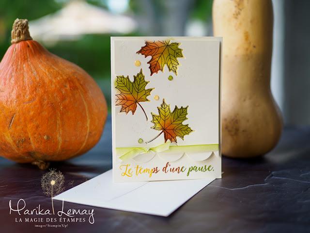 carte automnale épurée avec le jeu Saisons colorées Stampin' Up!