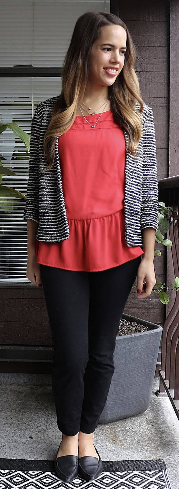 Jules in Flats - Smart Set Peplum top, H&M Striped jacket, Old Navy Pixie Pants