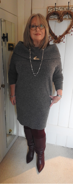 Pouting-Pensioner-Grey-sweater-dress-berry-knee-boots
