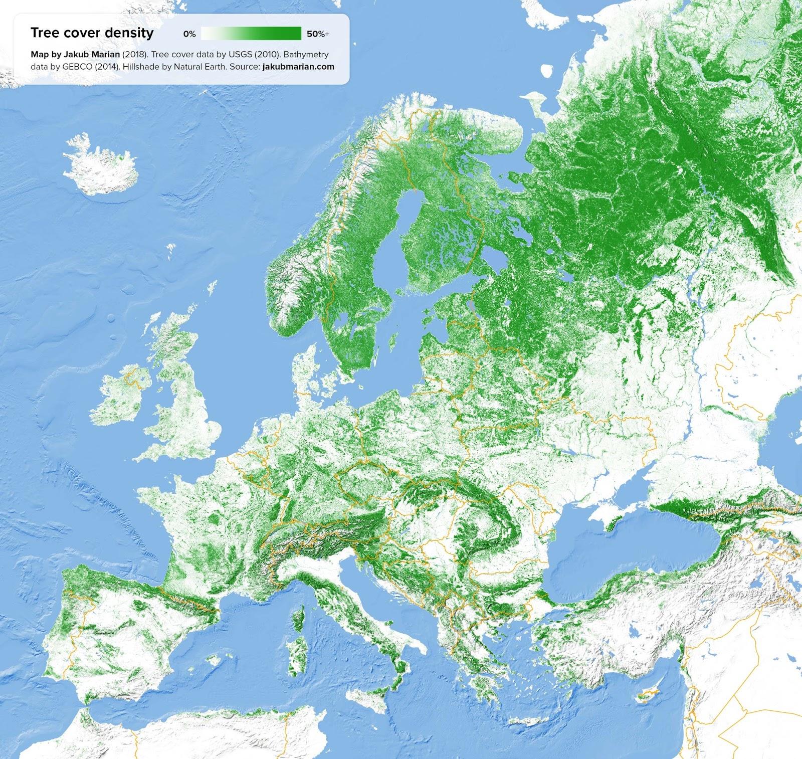 tree cover density of europe