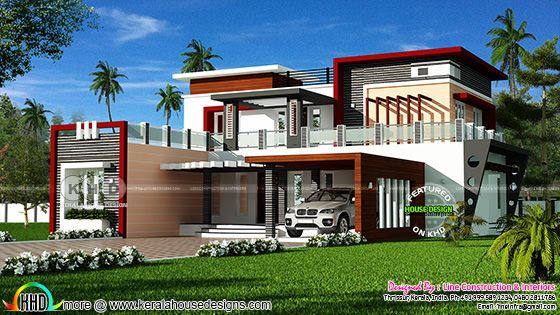 Decorative contemporary style 5 bedroom home design