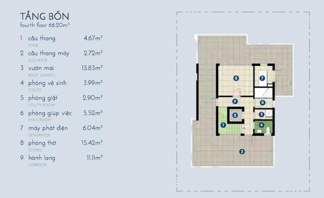 Thiết kế chi tiết tầng 4 biệt thự Bạch Kim