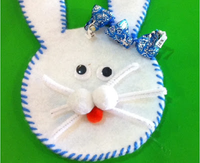 Easter Bunny pocket filled with Hershey kisses