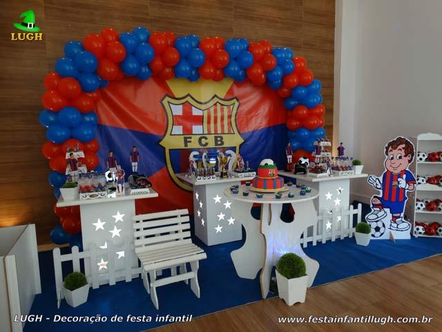 Decoração tema Barcelona para festa de aniversário - Mesa temática de futebol - Barra da Tijuca - RJ