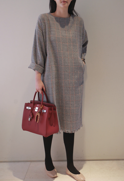 Frayed Hem Check Dress