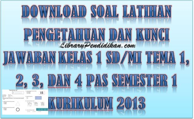 Download Soal Latihan Pengetahuan dan Kunci Jawaban Kelas 1 Tema 1, 2, 3, dan 4 PAS Semester 1 Kurikulum 2013