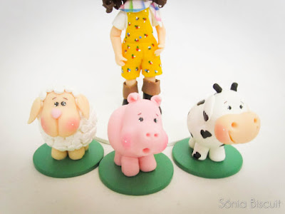 Topo de Bolo Biscuit Fazenda Fazendinha Porquinho Vaquinha Ovelhinha