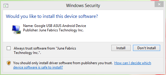 Install this Driver Software anyway on PdaNet