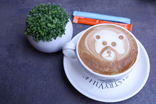 Having a teddy bear themed cup of coffee (PastryVille, 1Mont Kiara)