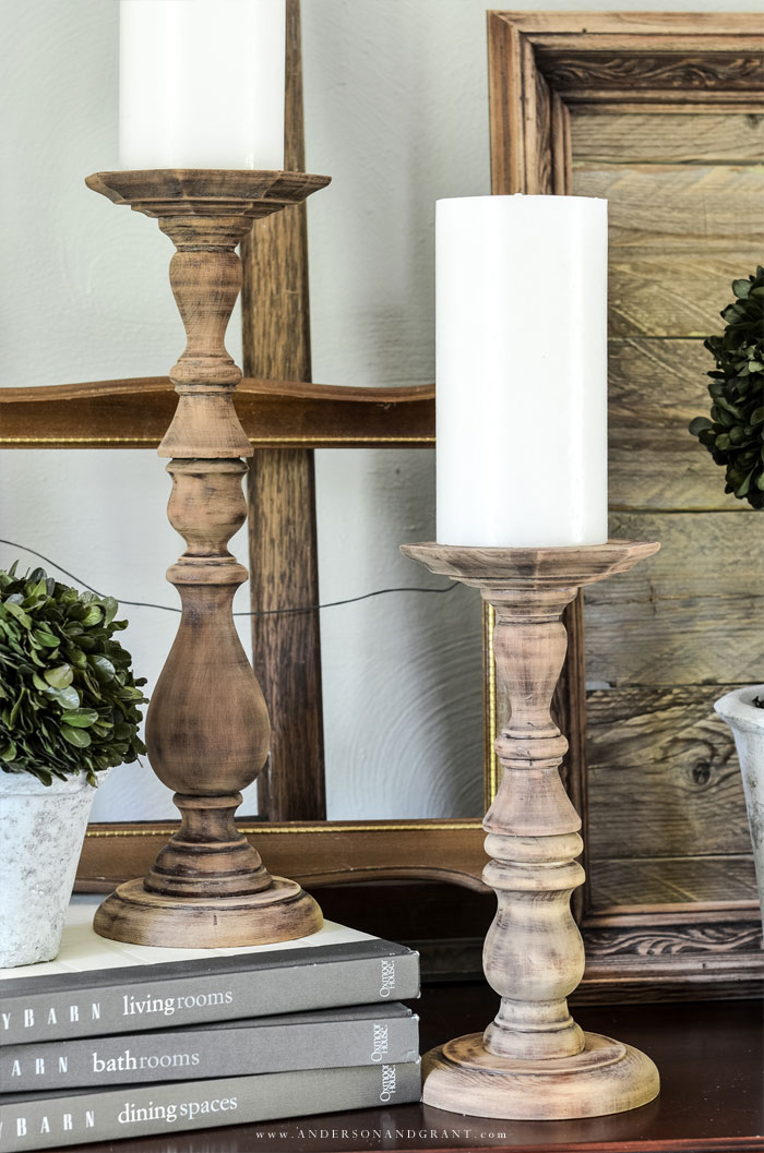 Farmhouse styleDIY  candlesticks...such an easy project!. #fixerupper #DIY #diydecor  #thriftstore  #andersonandgrant