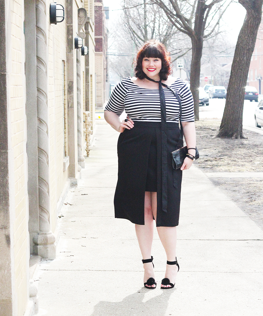 9729ec7610d Plus Size Blogger Amber in a Split Front Hi Lo Plus Size Skirt from Eloquii  via