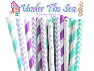 Mermaid Paper Straws Under The Sea Ariel Birthday Party Ideas DIY Baby Shower Weddings