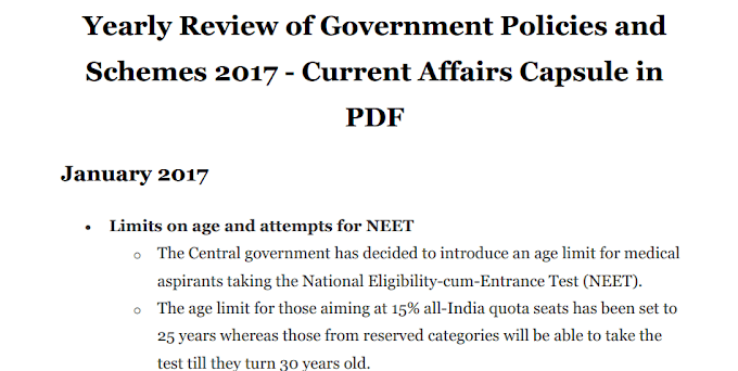 Yearly Review of Govenment Scheme and Policies