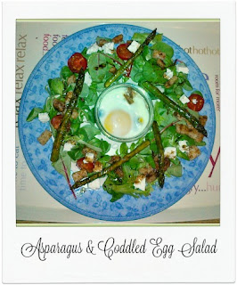 An easy, delicious and warm salad, which includes sauted asparagus, coddled (baked) egg and croutons.  It's a must make when asparagus is in season!