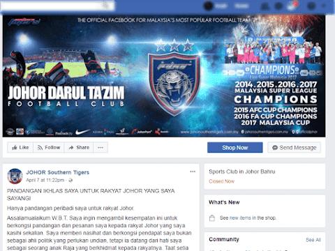 PRU14 Reaksi Netizens Teguran DYAM Tengku Mahkhota Johor berkenaan UMNO di Facebook