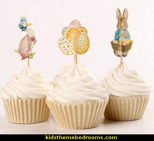 Cupcake, Toppers Picks Peter Rabbit,Toppers Rabbit, Mother Goose, Easter Eggs, Spring Party Supplies