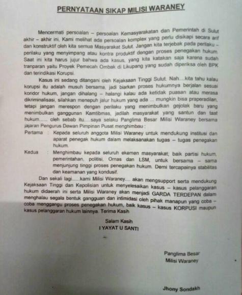Surat Pernyataan Sikap Milisi Waraney
