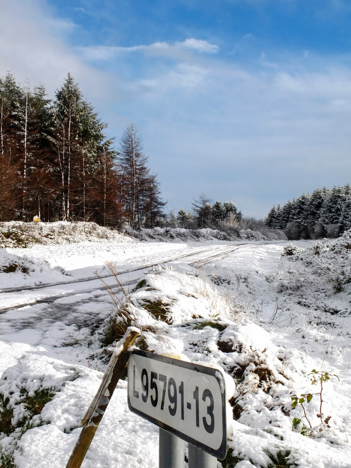 Snowy and sunny landscape of Duhallow.