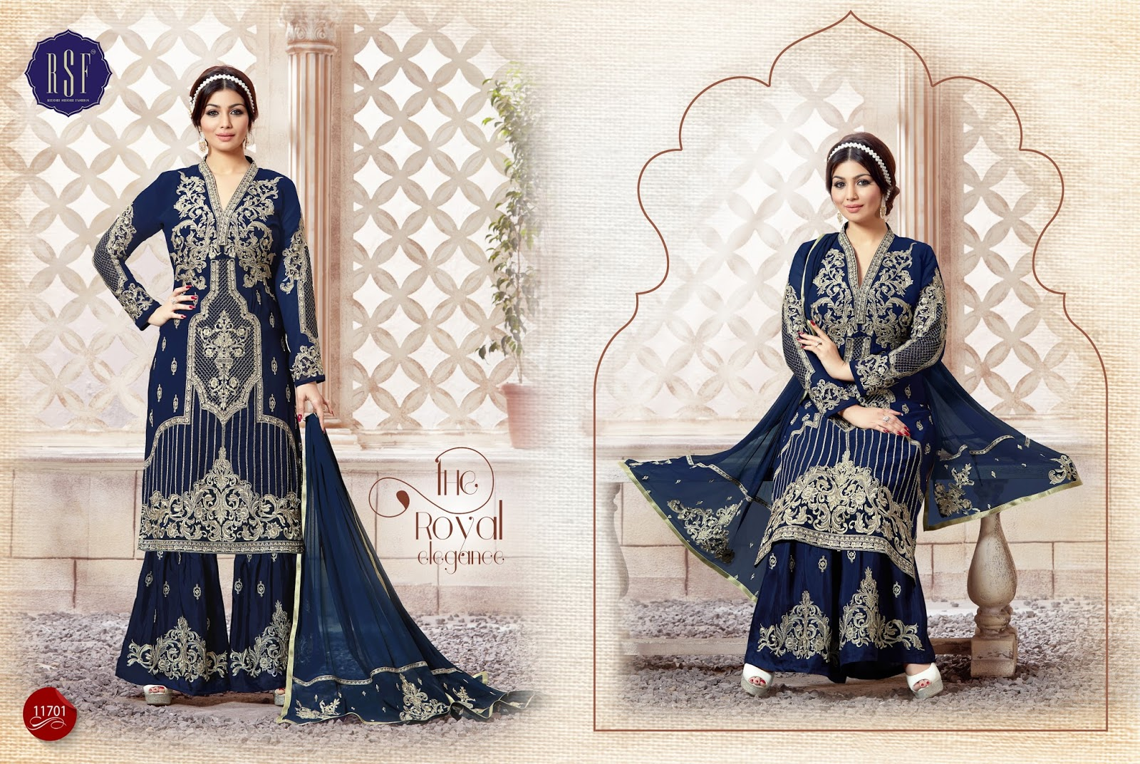 KAMEEZ-Faux gorgette long  With heavy embrodery Salwar Suit