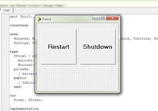 Cara Membuat Tombol Shutdown dan Restart Windows Dengan Delphi 7
