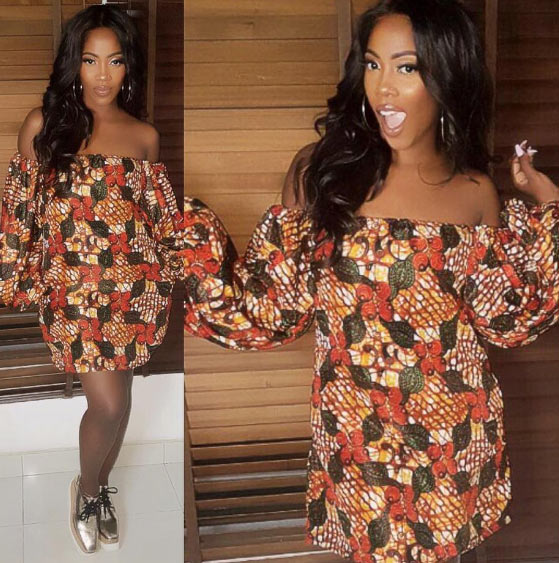 Tiwa Savage looks chic in Ankara dress